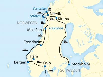 Reise in Norwegen, Reiseroute: 14-tägige Zug- und Schiffs-Erlebnisreise in Schweden und Norwegen