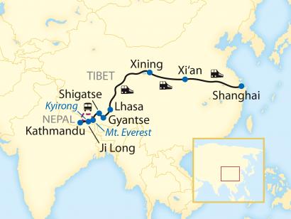Reise in China, Reiseroute: 18-tägige Zug-Erlebnisreise durch China mit Fahrt auf der Tibet-Bahn und weiter nach Nepal