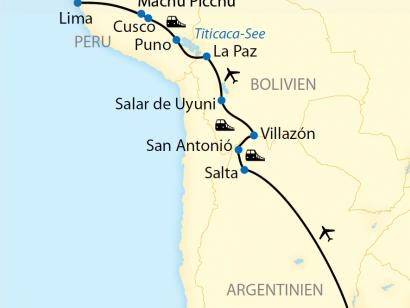 Reise in Argentinien, Reiseroute: 19-tägige Zug-Erlebnisreise durch Argentinien, Bolivien und Peru