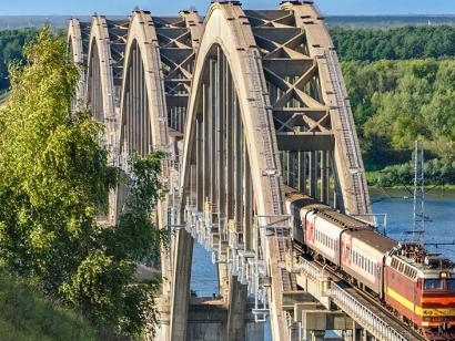 Reise in Russland, Brücke über die Oka, Russland.