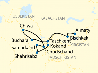 Reise in Kasachstan, Reiseverlauf: 16-tägige Sonderzugreise durch Kasachstan, Kirgistan, Tadschikistan und Usbekistan