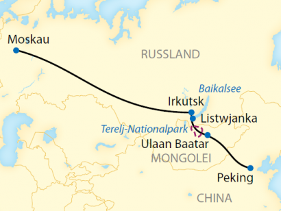 Reise in China, Reiseroute: 17-tägige Zug-Erlebnisreise durch Russland, die Mongolei und China