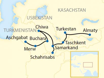 Reise in Kasachstan, Reiseroute: 14-tägige Sonderzugreise von Kasachstan durch Usbekistan nach Turkmenistan