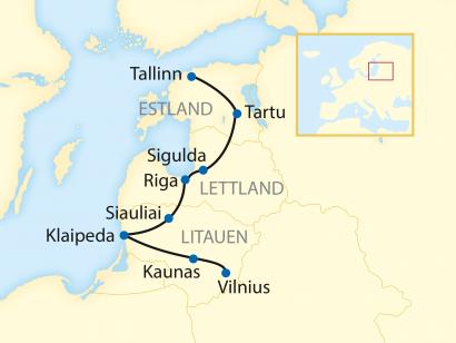 Reise in Estland, Reiseroute: 10-tägige Zug-Erlebnisreise durch Litauen, Lettland und Estland