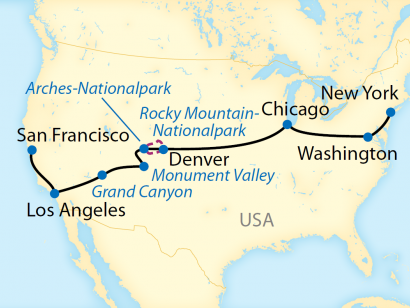 Reise in USA, Reiseroute: 14-tägige First Class Zug-Erlebnisreise zu den großartigen Nationalparks im Wilden Westen der Vereinigten Staaten