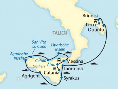 Reise in Italien, Reiseroute: 12-tägige Schiffsreise mit 9-tägiger Kreuzfahrt in Italien