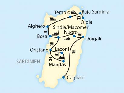 Reise in Italien, Reiseroute: 10-tägige Sonderzugreise mit dem Trenino Verde auf Sardinien
