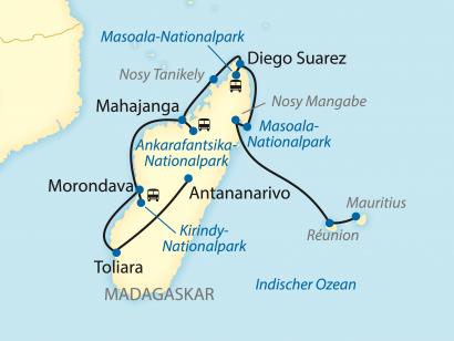 Reise in Madagaskar, Exklusiv-Charter: Von den Trauminseln Mauritius und Réunion rund um Madagaskar (2021)