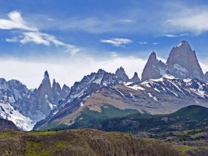 Reise in Argentinien, Bergmassiv mit Cerro Torre und Fitz Roy