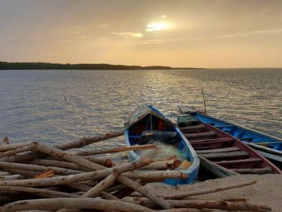 Reise in Gambia, Sonnenuntergang Gambia-Fluss
