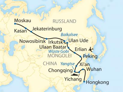Reise in China, Reiseroute: 27-tägige Sonderzugreise auf der Transsibirischen Eisenbahn ab Hongkong mit Fahrt nach Moskau