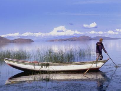 Reise in Bolivien, Boot auf dem Titicacasee