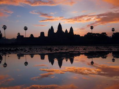 Reise in Kambodscha, Sonnenuntergang am Angkor Wat
