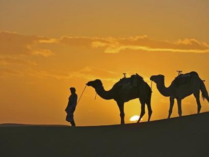 Reise in Marokko, Blick in die blaue Stadt von Chefchaouen