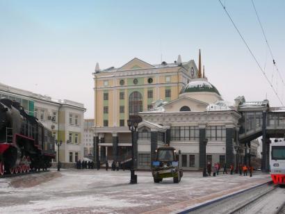 Reise in Russland, Russische Eisenbahnlandschaft im Winter