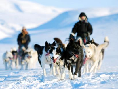 Mit Huskys nach Isfjord Radio Hundeschlitten-Expedition zur ehemaligen Funkstation mit nur zwei Zeltnächten und besonderen Unterkünften