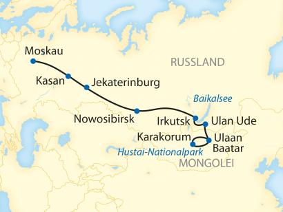 Reise in Mongolei, Reiseroute: 17-tägige Sonderzugreise von Ulaan Baatar nach Moskau