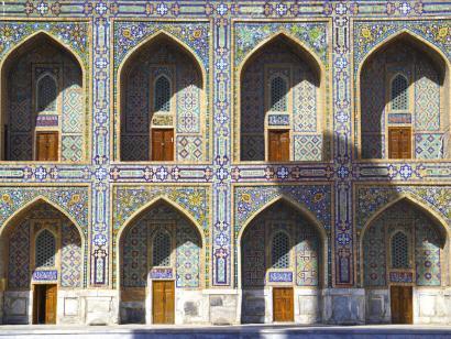 Reise in Usbekistan, Feine Ornamentik am Registan in Samarkand