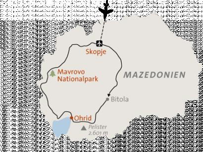 Reise in Mazedonien, Landkarte zu Nordmazedonien: Wandern zwischen Gebirgen & Seen Alpinschule Innsbruck