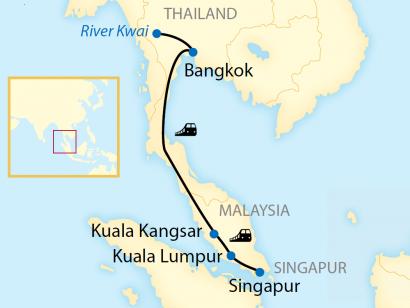 Reise in Malaysia, Reiseroute: 4-tägige First Class Zug-Erlebnisreise von Bangkok nach Singapur
