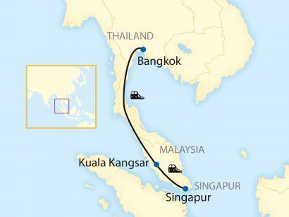 Reise in Malaysia, Reiseroute: 3-tägige First Class Zug-Erlebnisreise von Singapur nach Bangko