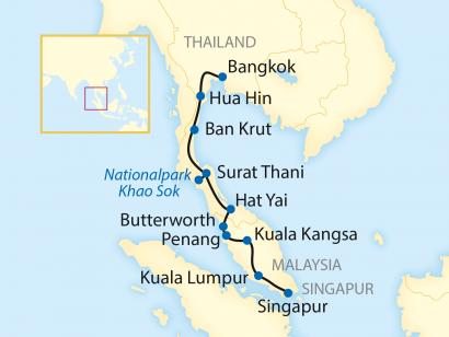 Reise in Malaysia, Reiseroute: 15-tägige Zug-Erlebnisreise durch Thailand über Malaysia nach Singapur