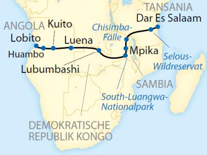 Reise in Angola, Reiseroute: 20-tägige deutschsprachig geführte Sonderzugreise durch Angola, Kongo, Sambia und Tansania