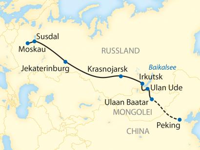 Reise in China, Reiseroute: 13-/16-tägige Sonderzugreise durch Russland und die Mongolei mit 3-tägiger Verlängerungsreise nach China