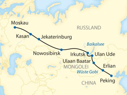 Reise in China, Reiseroute: 16-tägige Sonderzugreise von Peking durch die Mongolei zum Baikalsee und weiter nach Moskau