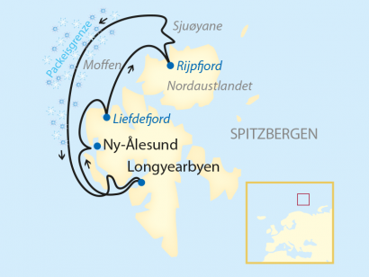 Reise in Norwegen, Reiseroute: 10-tägige Expeditions-Kreuzfahrt im Nordpolarmeer