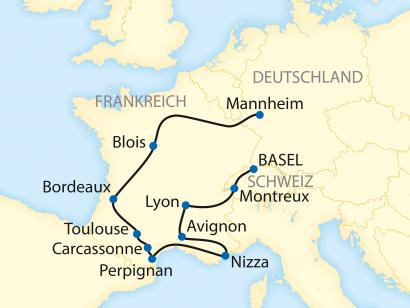 Reise in Deutschland, Reiseroute: 12-tägige Zug-Erlebnisreise durch Frankreich