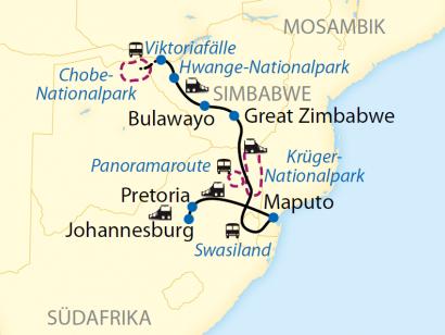 Reise in Mosambik, Reiseroute: 15-tägige Sonderzugreise von Pretoria bis Victoria Falls im African Explorer – bekannt aus der ARD-Fernsehserie Verrückt nach Zug.