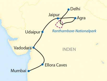 Reise in Indien, Reiseroute: 12-tägige Zug-Erlebnisreise durch Indien mit 8-tägiger Fahrt im Deccan Odyssey