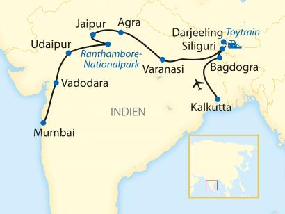 Reise in Indien, Reiseroute: 15-tägige Erlebnisreise mit 8-tägiger Fahrt im legendären Luxus-Zug Deccan Odyssey