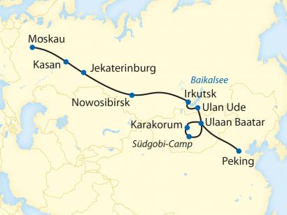 Reise in Mongolei, Reiseroute: 23-tägige Sonderzugreise von Moskau in die Mongolei und weiter mit dem Linienzug nach Peking