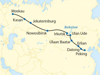 Reise in China, Reiseroute: 18-tägige Sonderzugreise von Peking über Datong nach Moskau
