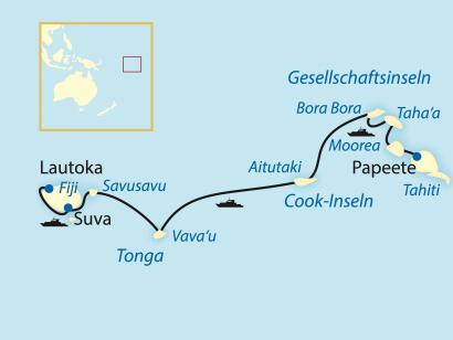 Reise in Cookinseln, Von Tahiti nach Fiji (2021)