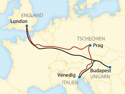 Reise in Frankreich, Reiseroute: 5-tägige Zeitreise per Zug mit dem Venice Simplon-Orient-Express von Venedig über Budapest oder Prag nach London
