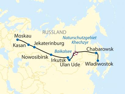 Reise in Russland, Reiseroute: 17-tägige Sonderzugreise von Wladiwostok nach Moskau