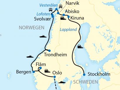 Reise in Norwegen, Reiseroute: 14-tägige Zug- und Schiffs-Erlebnisreise im Winter in Schweden und Norwegen