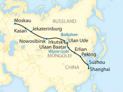 Reise in China, Reiseroute: 20-tägige Sonderzugreise von Shanghai über Peking nach Moskau