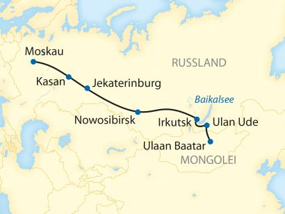 Reise in Mongolei, Reiseroute: 12-tägige Sonderzugreise von Ulaan Baatar nach Moskau
