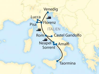Reise in Italien, Reiseroute: 12-tägige Zug-Erlebnisreise durch ganz Italien – Von Venedig bis nach Sizilien