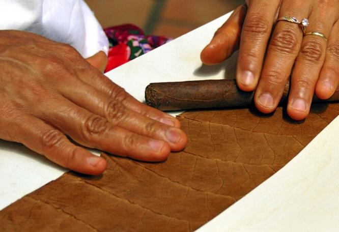 Reise in Brasilien, feinste Handarbeit beim Zigrarren rollen