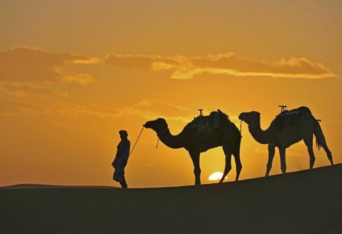 Reise in Marokko, Abendstimmung in der Wüste