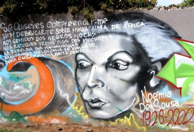 Reise in Mosambik, Mural im Gedenken an Noémia de Sousa, Mafalala, Maputo