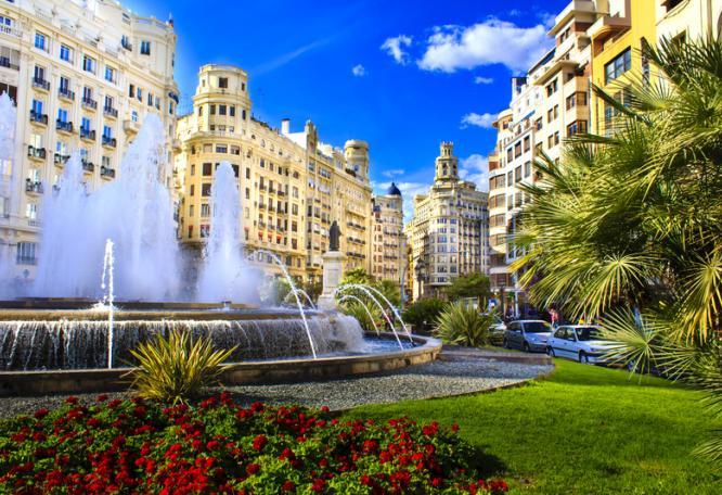 Reise in Spanien, Plaza del Ayuntamiento in Valencia