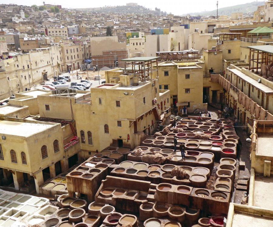 Reise in Marokko, Gerberei und Färberei in der Medina von Fes