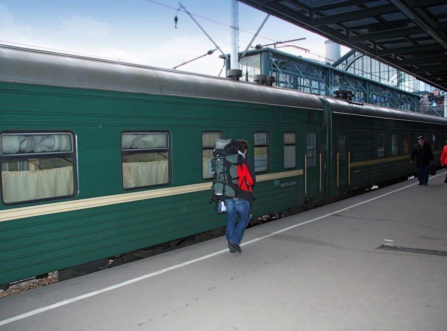 Reise in Russland, Tourist am Bahnsteig
