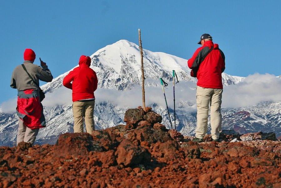 Reise in Russland, Blick vom Kraterrand des Awatschinskij